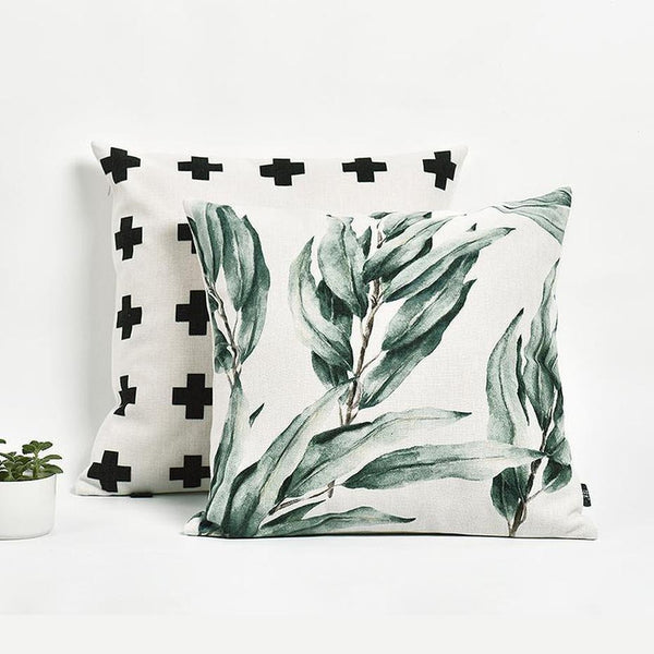 Paislee Fresh Leaves Cotton/Linen Cushion-Heart N' Soul Home-Heart N' Soul Home
