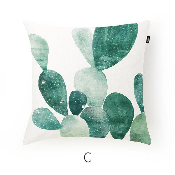 Paislee Fresh Leaves Cotton/Linen Cushion-Heart N' Soul Home-Cushion Cover Only-C 45x45cm-Heart N' Soul Home