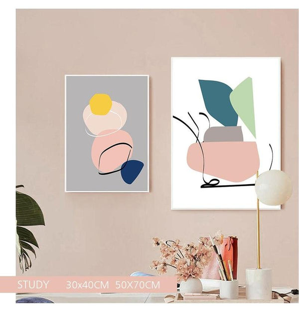 Pastel Shapes Canvas Prints-Heart N' Soul Home-Heart N' Soul Home