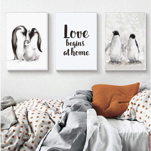 Penguin Family Love Canvas Painting Prints-HeartnSoulHome-Heart N' Soul Home