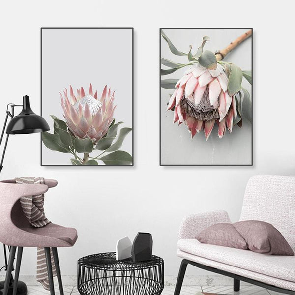 Pink King Protea Series Design A Canvas Prints-Heart N' Soul Home-Heart N' Soul Home