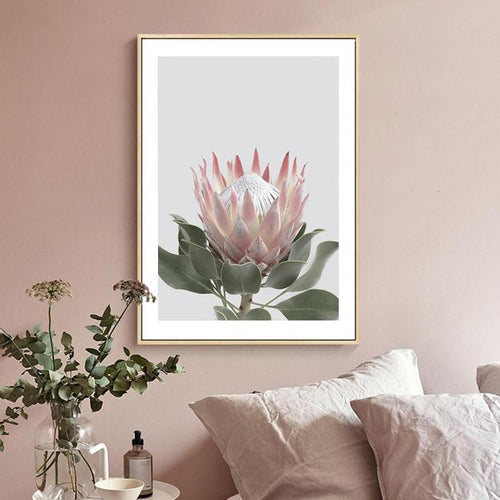 Pink King Protea Series Design B Canvas Prints-Heart N' Soul Home-Heart N' Soul Home