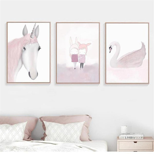 Pink Unicorn / Girl Canvas Painting Prints-Heart N' Soul Home-Heart N' Soul Home