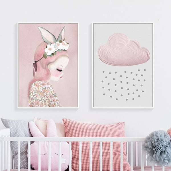 Cartoon Princess Pink Cactus And Clouds Nursery And Kids Room Canvas Prints-Heart N' Soul Home