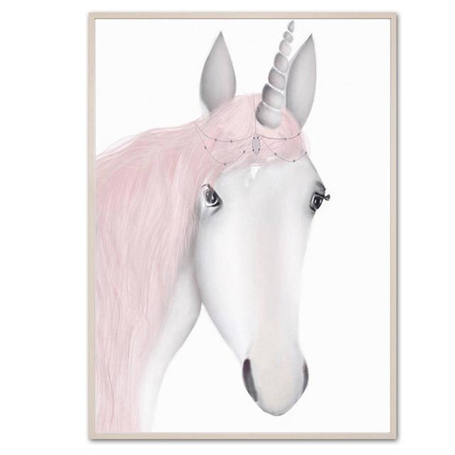 Sweet Pink Unicorn And Girls Canvas Prints-Heart N' Soul Home