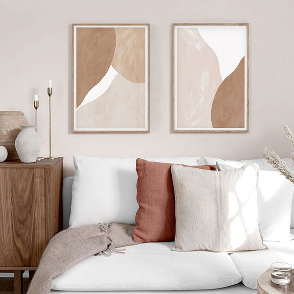 Talia Beige Brown Abstract Art Canvas Prints-Heart N' Soul Home