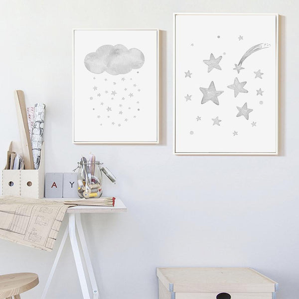 Grey Moon Stars Cloud Nursery And Kids Room Canvas Prints-Heart N' Soul Home