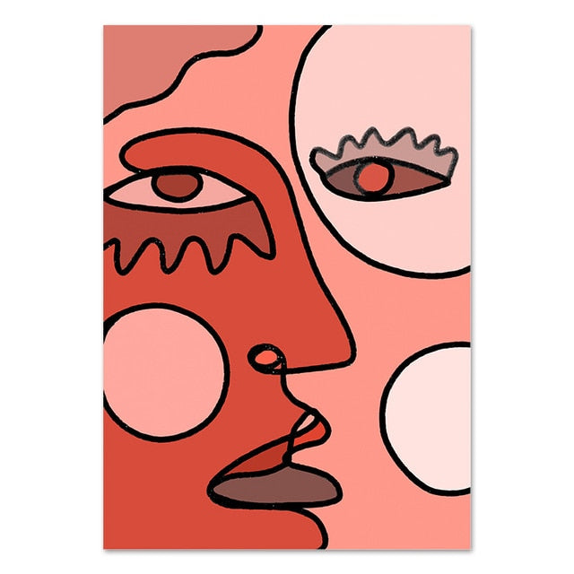Cubism Face Drawing Canvas Print-Heart N' Soul Home