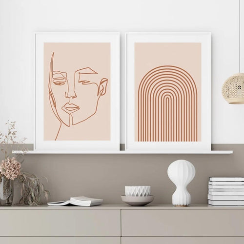 Terracotta And Beige Abstract Face Line Art Canvas Prints-Heart N' Soul Home