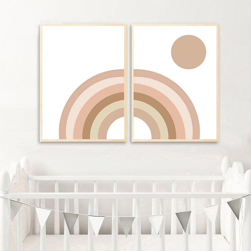 Cartoon Rainbow Nursery Canvas Prints-Heart N' Soul Home