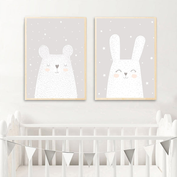 Big White Bear And Rabbit Nursery Poster Canvas Prints-Heart N' Soul Home