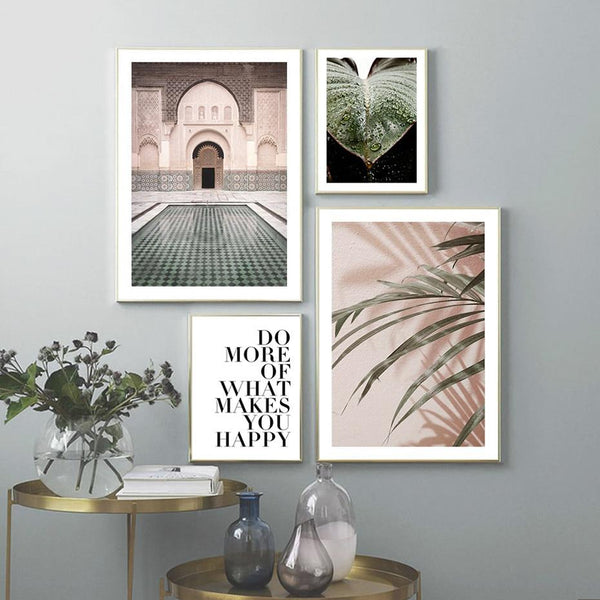 Ancient Building And Tropic Plants Canvas Prints-Heart N' Soul Home