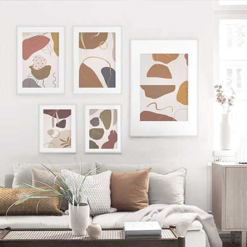 Presley Abstract Beige Leaves Art Prints-Heart N' Soul Home