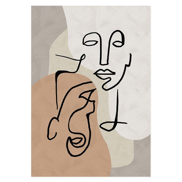Love Story Beige Abstract Art Canvas Prints-Heart N' Soul Home