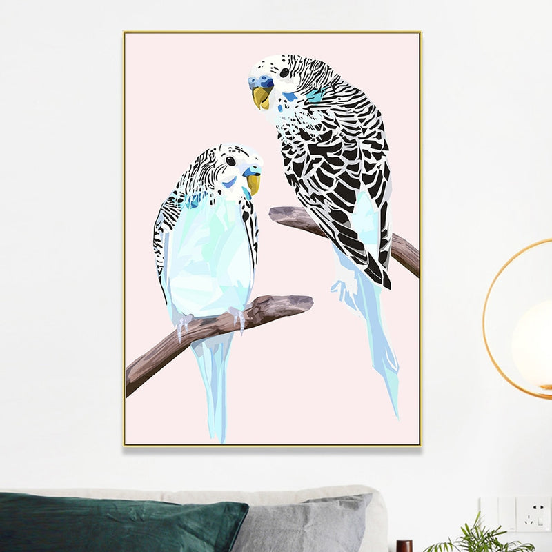 Budgies on The Branches Canvas Prints-Heart N' Soul Home