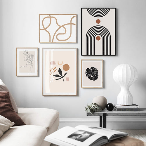 Frankie Trendy Beige Abstract Canvas Prints-Heart N' Soul Home