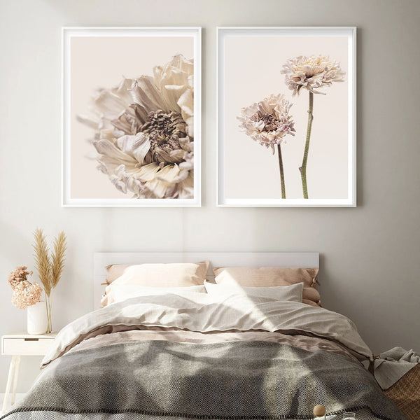 Aubrie Beige Flower Art Prints-Heart N' Soul Home