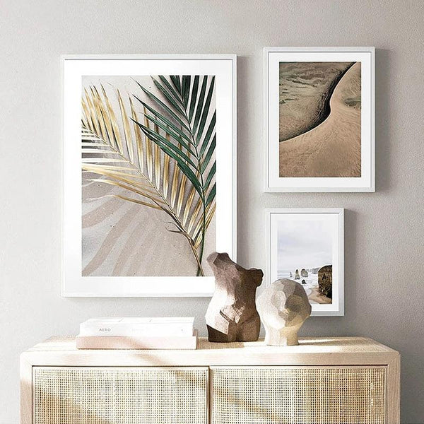 Desert and Palm Tree Leaves Art Prints-Heart N' Soul Home