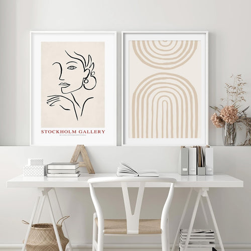 Celeste Abstract Scandinavia Beige Art Prints-Heart N' Soul Home
