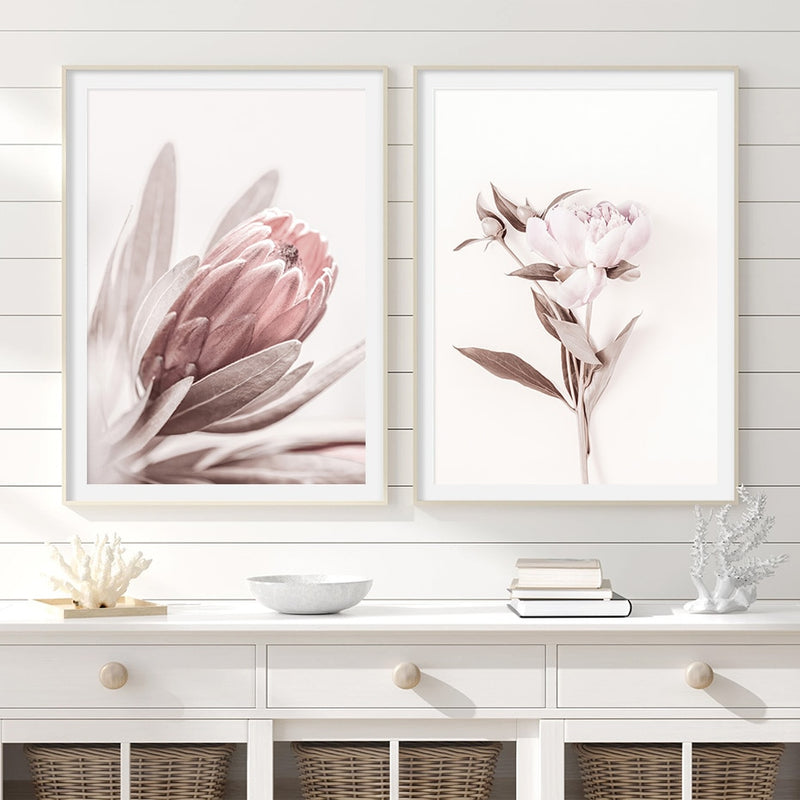 Avalyn Elegant Pink Flowers Art Prints-Heart N' Soul Home