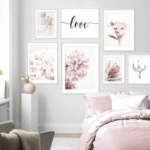 Elegant Pink Flowers And Love Art Prints-Heart N' Soul Home