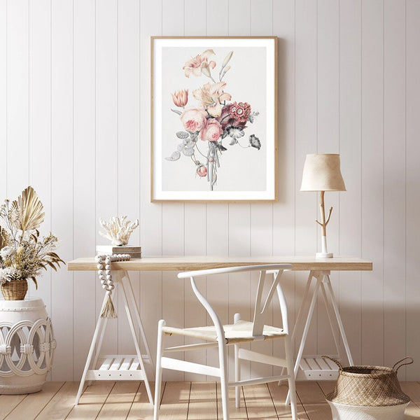 Romantic Floral With Beige Background Art Print-Heart N' Soul Home