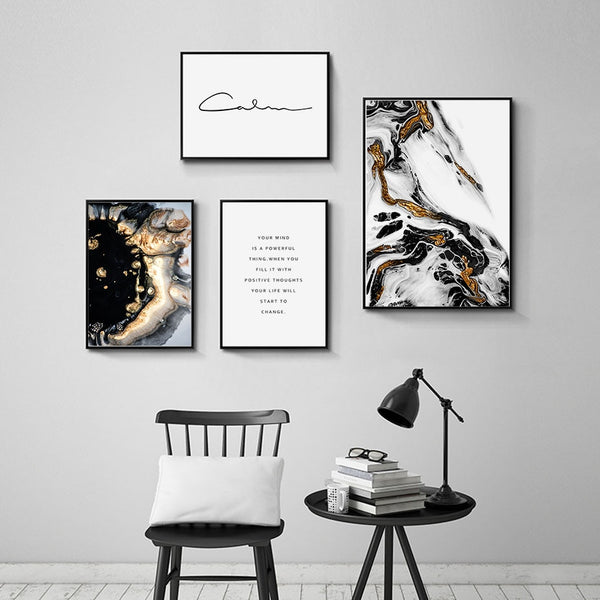 Abstract Black Gold Marble Canvas Prints-Heart N' Soul Home
