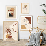 Beige And Terracotta Color Abstract Line Art Canvas Prints-Heart N' Soul Home