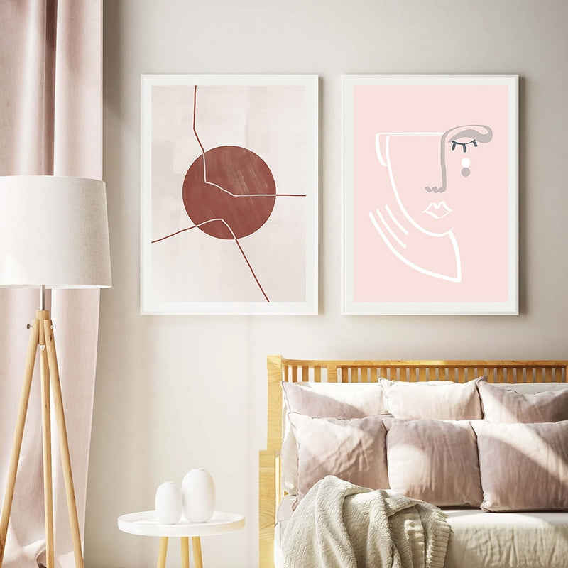 Pink Piper Abstract Sketch Face Canvas Prints-Heart N' Soul Home