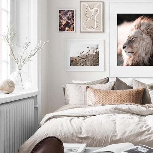 Boho Style Lion Mountain And Plants Canvas Prints-Heart N' Soul Home