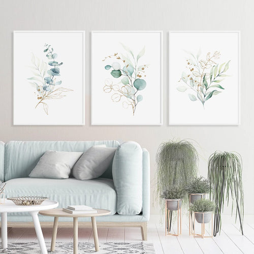 Light Blue And Green Elegant Watercolor Flower Trio Art Prints-Heart N' Soul Home