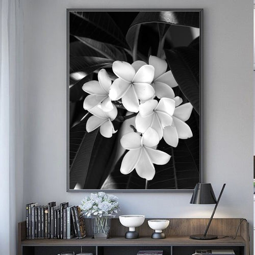 Beauty In The Darkness Black And White Flowers Canvas Prints-Heart N' Soul Home
