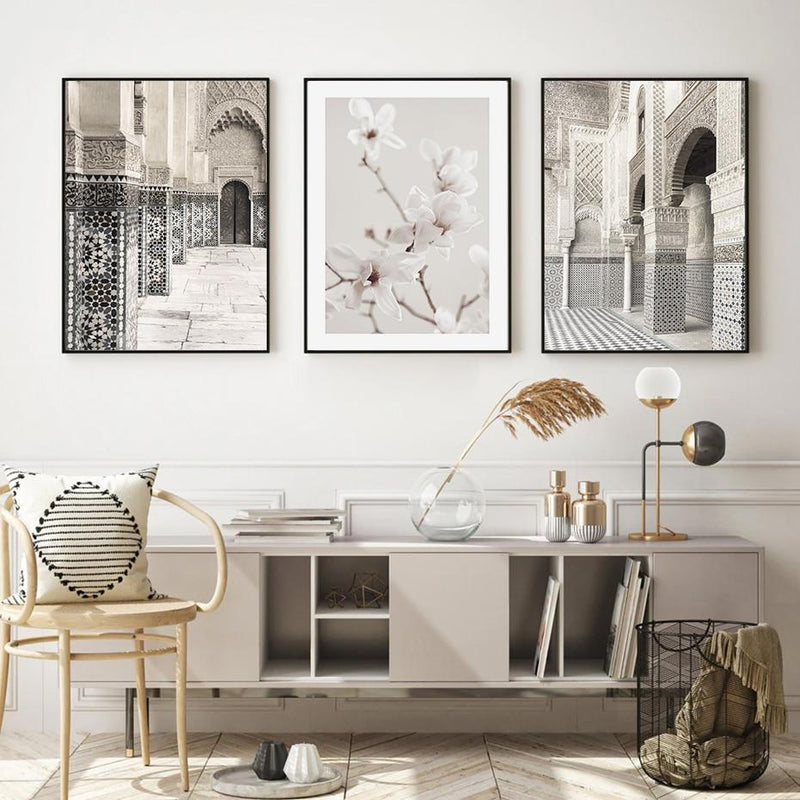 Elegant Ancient Building And White Flower Canvas Prints-Heart N' Soul Home