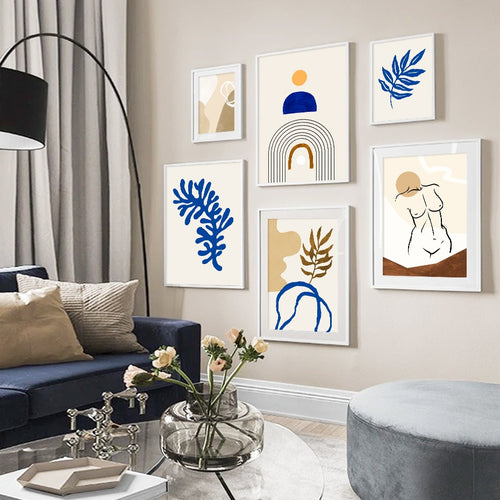 Abstract Beige Blue Ava Canvas Prints-Heart N' Soul Home