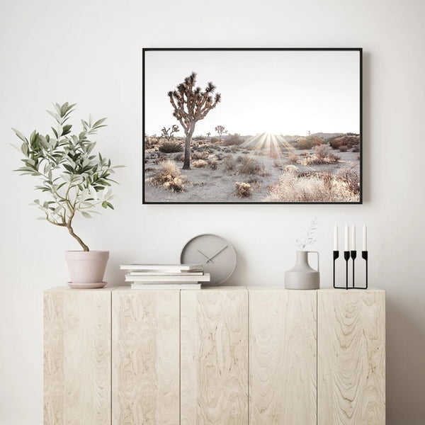 Desert Tree And Bright Sunlight Canvas Prints-Heart N' Soul Home
