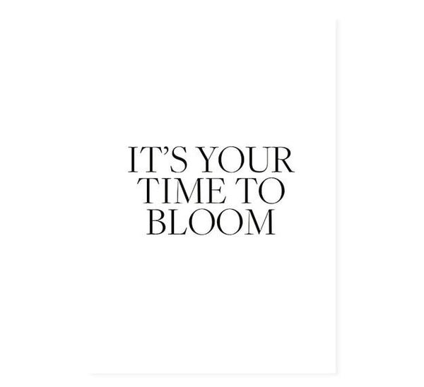 It Is Time To Bloom White Floral Canvas Art Prints-Heart N' Soul Home
