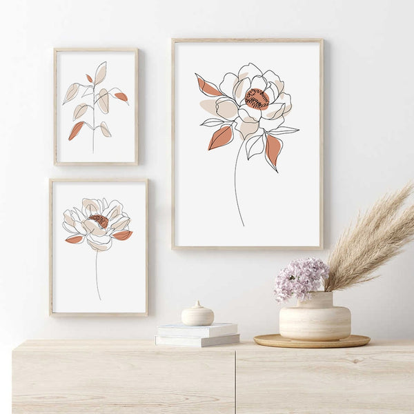 Abby Floral Line Art Canvas Prints