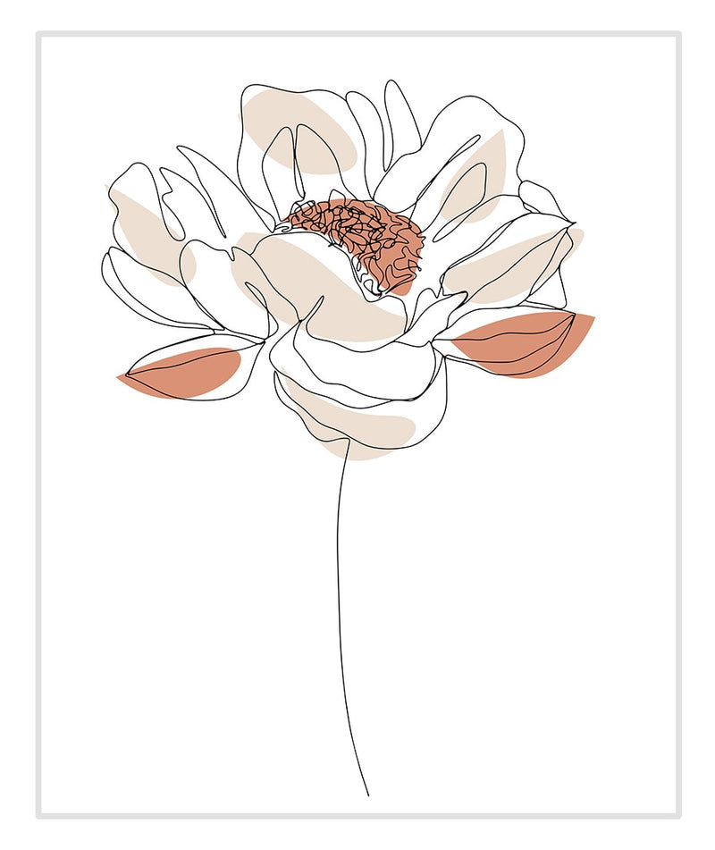 Abby Floral Line Art Canvas Print