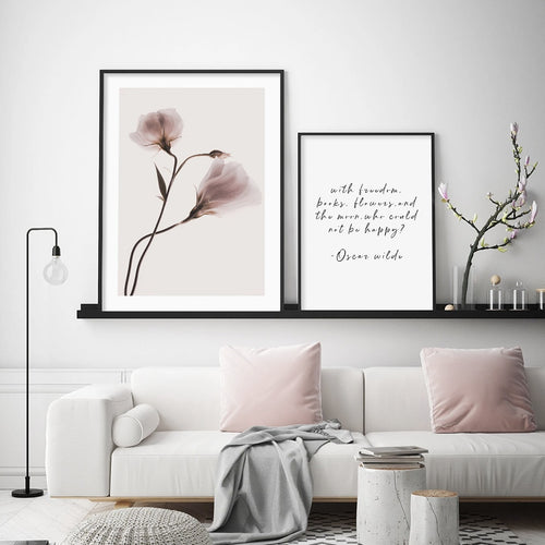 Dusk Pink Floral Plants And Ocean Canvas Prints-Heart N' Soul Home