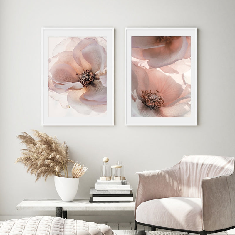 Large Dusk Pink Flowers Canvas Prints