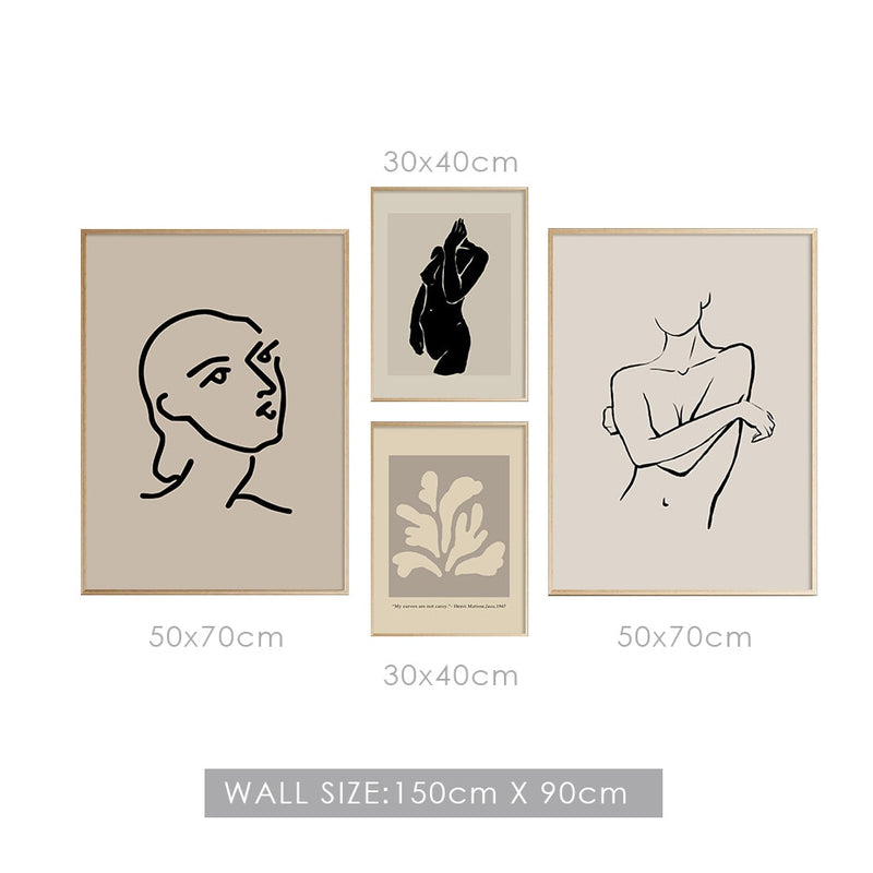 Presley Abstract Beige Silhouette Canvas Prints