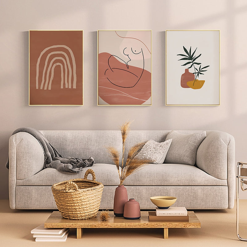 Camile Terracotta Abstract Canvas Print