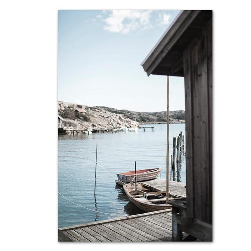 Quiet Lakeside And Beach House Canvas Prints-Heart N' Soul Home-60x90 cm no frame-Lake-Heart N' Soul Home