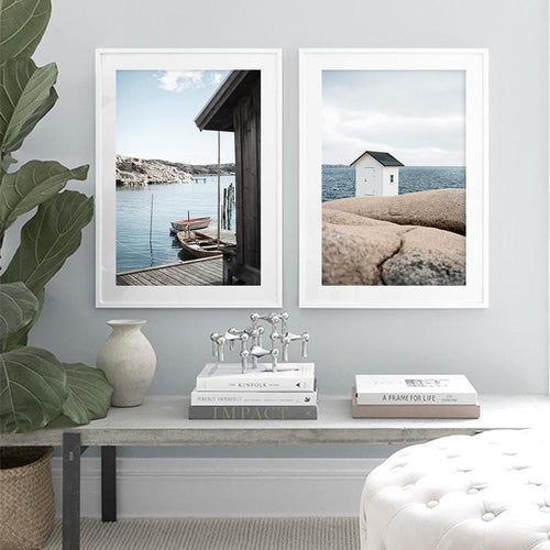 Quiet Lakeside And Beach House Canvas Prints-Heart N' Soul Home-Heart N' Soul Home