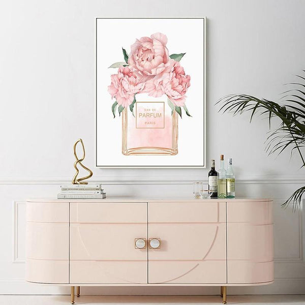 Soft Pink Perfume Bottle and Quote Canvas Prints-Heart N' Soul Home-20x25 cm no frame-Perfume Bottle-Heart N' Soul Home