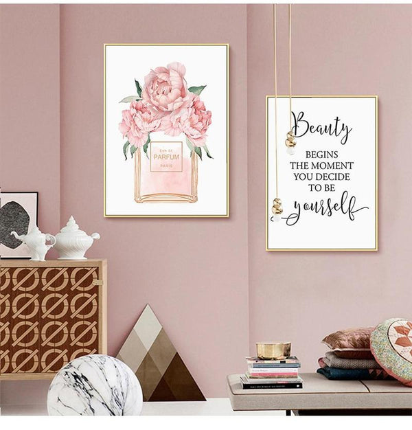 Soft Pink Perfume Bottle and Quote Canvas Prints-Heart N' Soul Home-Heart N' Soul Home