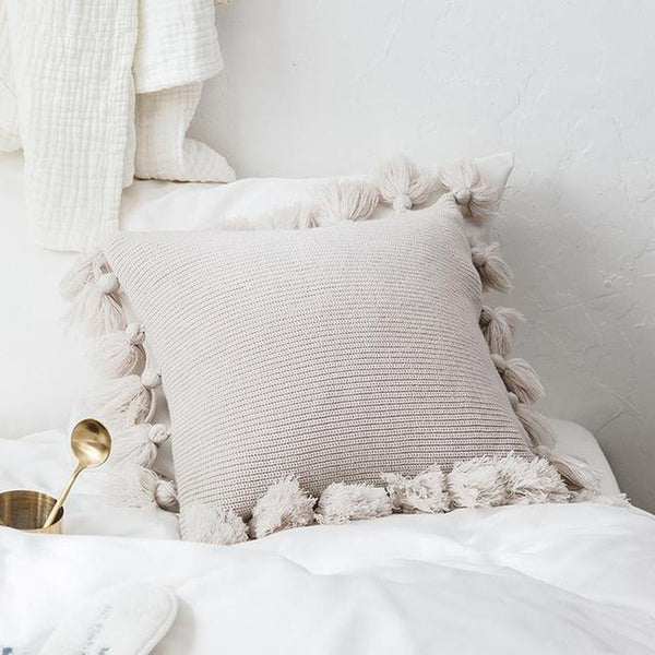 Soft Plush Double Cable Knitted Cushion Cover-HeartnSoulHome-450mm*450mm-A-Heart N' Soul Home