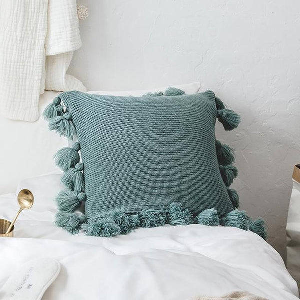 Soft Plush Double Cable Knitted Cushion Cover-HeartnSoulHome-450mm*450mm-C-Heart N' Soul Home