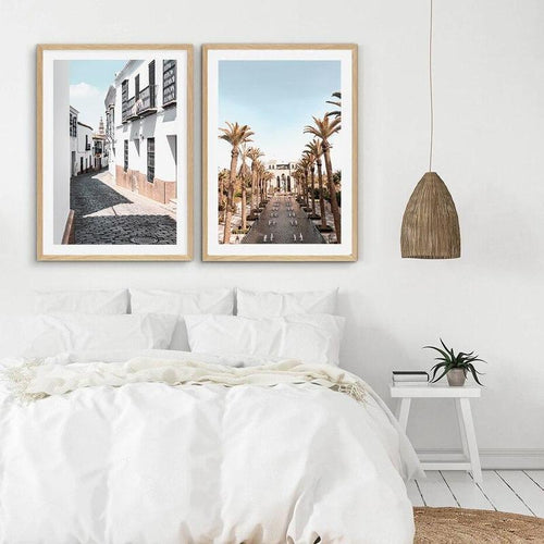 Street With Palm Trees And White Buildings Canvas Prints-Heart N' Soul Home-Heart N' Soul Home