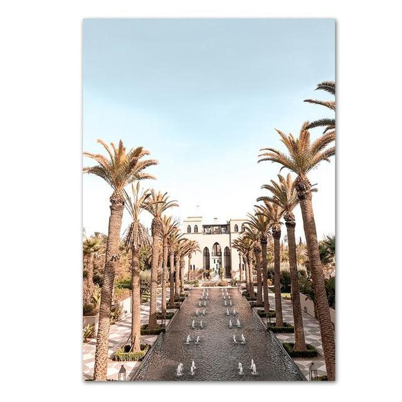 Street With Palm Trees And White Buildings Canvas Prints-Heart N' Soul Home-30x40 cm no frame-Palm Trees Street-Heart N' Soul Home